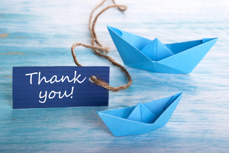 Label with Thank You with Boats