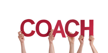 Many People Holding the Word Coach, Isolated photo