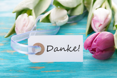 turquise: Banner with the German Word Danke which means Thanks on turquise Wood Stock Photo