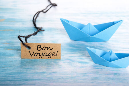 The French Words Bon Voyage on a Label which means Safe Journey photo