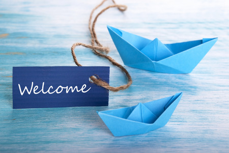 Label with Welcome and Boats photo