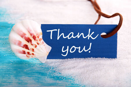 Sea Label with Thank You on it, Nautical and Holiday  photo