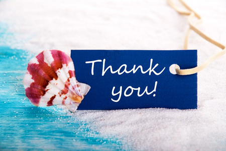 Thank You Label at the Beach with Shell photo