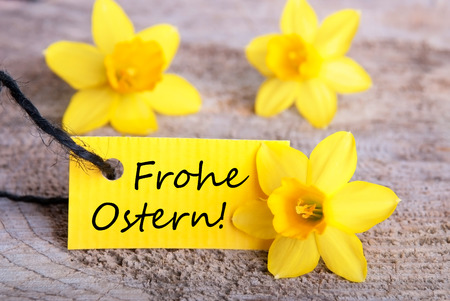 frohe: Label with the German Words Frohe Ostern which means Happy Easter