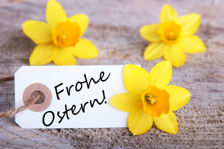 frohe: Tag with the German words Frohe Ostern which means Happy Easter