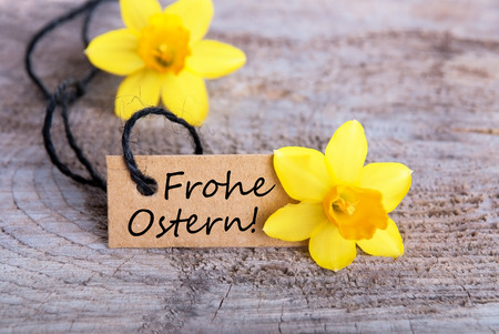 Ostern: Label with the German Words Frohe Ostern which means Happy Easter
