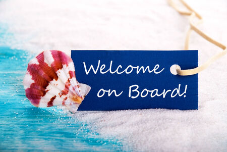 Beach Background with Label with Welcome on Board on it