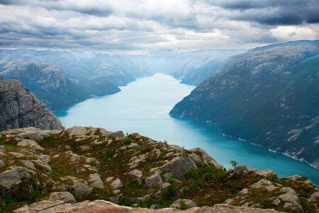 fjords: A Norwegian Fjord Landscape, View above Fjord, Prekestolen