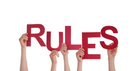 Many People Holding the Word Rules, Isolated photo