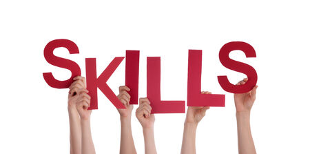 interpersonal: Many People Holding Skills as a Word, Isolated Stock Photo
