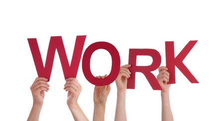 outwork: Many People Holding the Word Work, Isolated