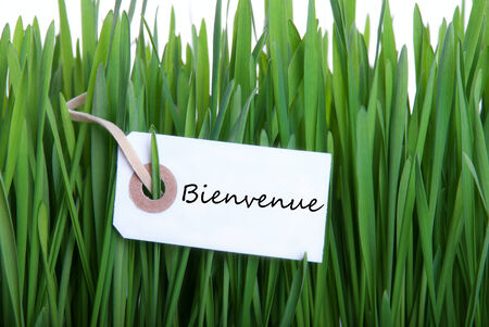Label in Gras with the French Word Bienvenue on ith which means Welcome