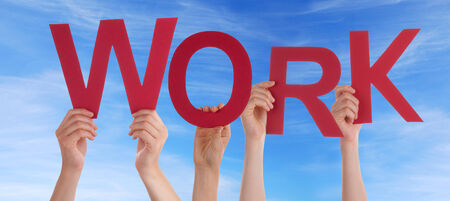 outwork: Many Hands Holding the Word Work in the Sky Stock Photo