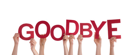 goodbye: Many Hands Holding the red Word Goodbye, Isolated Stock Photo