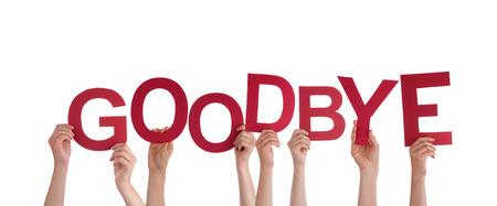 despedida: Muchas Manos Sosteniendo el rojo Palabra Adi�s, Aislado