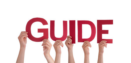 Many People Holding the red Word Guide, Isolated photo