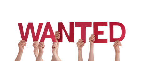 Many People Holding the Word Wanted, Isolated photo