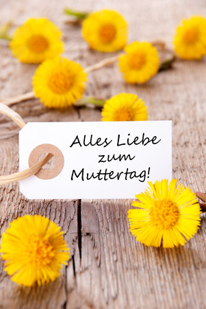 in liebe: White Tag with the German Words Alles Liebe zum Muttertag, which means Happy Mothers Day Stock Photo