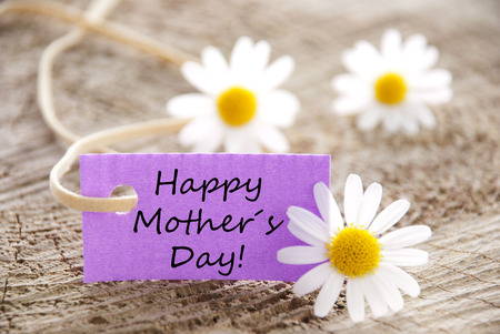 mother board: A Purple Label with Happy Mothers Day on it Stock Photo