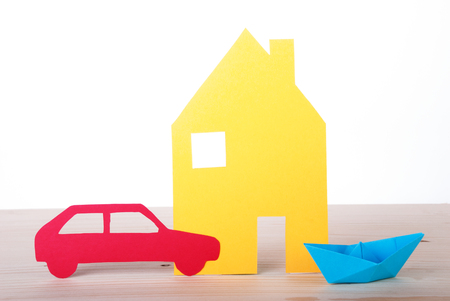 A Paper House, Boat and Car, Isolated photo