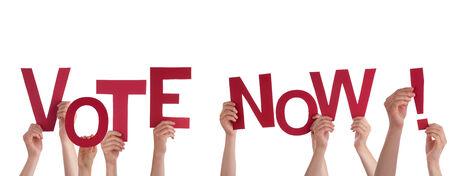 political system: Muchas personas que sostienen la las Palabras roja del voto Ahora, Aislado