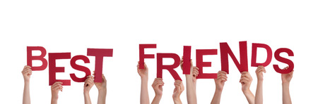 best friends: Many Hands Holding the Red Words Best Friends, Isolated Stock Photo