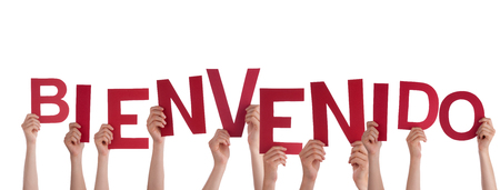 bienvenido: Many Hands Holding the Spanish Word Bienvenido, which means Welcome, Isolated