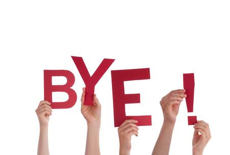 Beaucoup de mains tenant le Rouge Parole Bye, isolé Banque d'images - 27881233