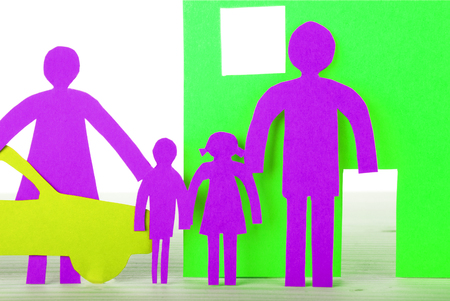 A Paper Family with House and Car in Neon Colors, Isolated photo