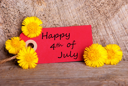 A Red Label with Yellow Flowers and the Words Happy 4th of July photo