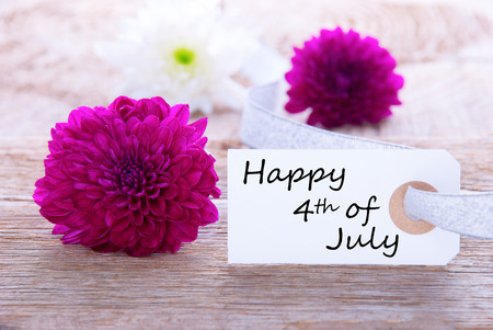 Background with Flowers and Happy 4th of July on a white Label photo
