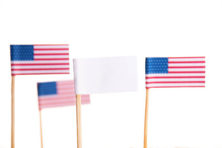 Some American Flags and a White Flag with Copyspace, Isolated photo