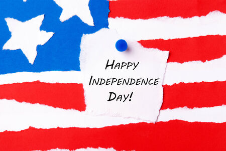 American Flag Background with Happy Independence Day Notice aon it photo