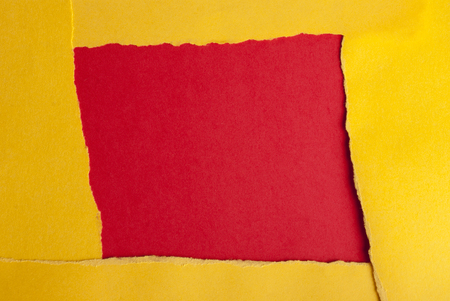 dodgy: A Yellow Frame on a Red Square, Paper Background