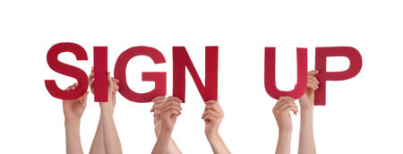 signup: Many People Holding the Red Words Sign Up, Isolated