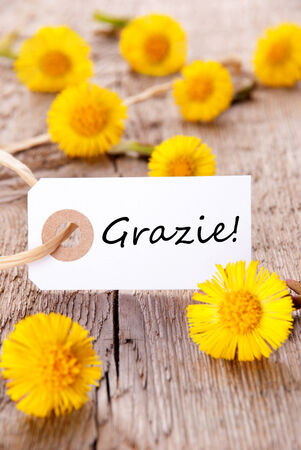 Yellow flowers with a tag with the italian word grazie on it stock stock photo yellow flowers with a tag with the italian word grazie on it which means thanks mightylinksfo