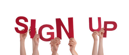 signup: Many Hands Holding the Red Words Sign Up, Isolated Stock Photo