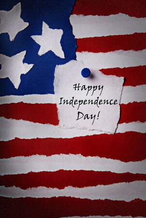 Old American Paper Flag Background with Happy Independence Day Note on it photo