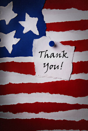 An Old Thank You Note on an American Paper Flag photo