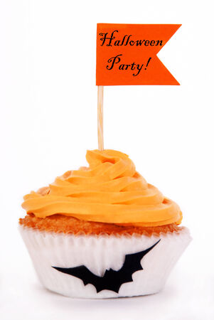 Cupcake with Orange Flag with Halloween Party on it, Isolated Stock Photo