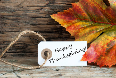 Happy Thanksgiving on a Autumn Background Label photo