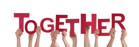 team spirit: Many Hands Holding the Word Together, Isolated