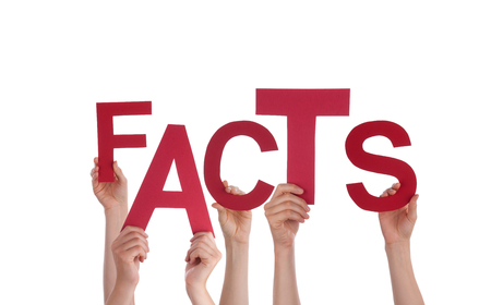 Many Hands Holding the Word Facts, Isolated photo