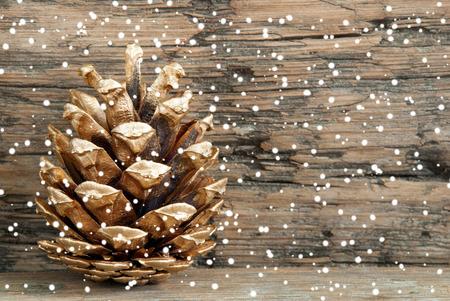 muerdago navide�  � �±o: Cono de abeto de oro en la madera con la nieve como la Navidad o el fondo del invierno