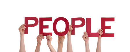 interpersonal: Many Persons Holding the red Word People, Isolated