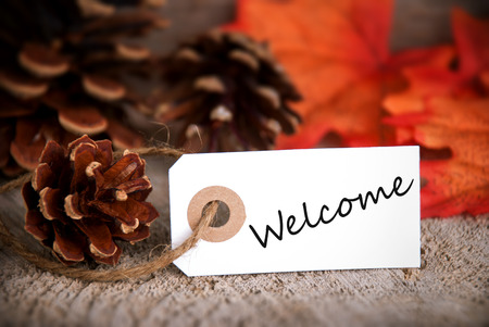 Label with Welcome on it as Fall Background photo