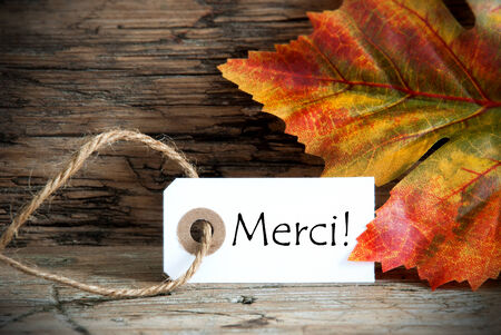 Autumn Label with the French Word Merci, which means Thanks photo