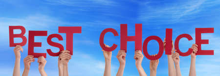 better price: Many Hands Holding the Red Words Best Choice in the Sky Stock Photo