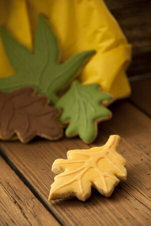bickie: Autumn Background with Fall Cookies in different Colors