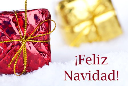 Christmas gifts in the snow with the spanish christmas greetings christmas gifts in the snow with the spanish christmas greetings feliz navidad which means merry christmas m4hsunfo